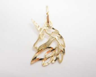 Genuine 10K Yellow Gold Diamond Cut Unicorn Charm Pendant #4325
