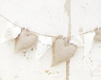 Fabric Heart Garland Burlap and Linen