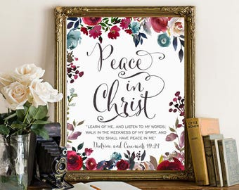LDS Young Women Theme 2018, Mutual Theme 2018, Doctrine and Covenants 19:23, Peace in Christ, Arrow Floral Watercolor, Printable file