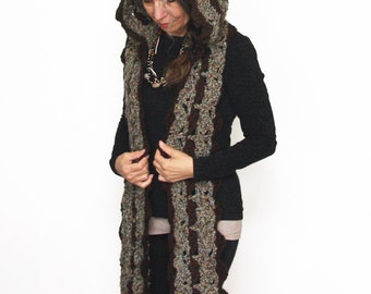 """Hooded Scarf Crochet PATTERN / Scoodie / Made in Canada / """"Laurelwood Hooded Scarf"""""""