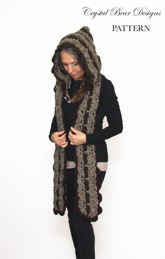 Hooded Scarf Crochet PATTERN / Scoodie / Made in Canada /
