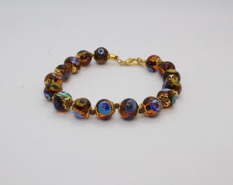 Italian Murano Mosaic Bracelet - Caramel
