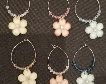 Set of 6 Flower Wine Charms