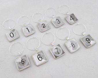Wine Charms Movie Numbers -set of 6 or 10- wine tags, wine glass charms, wine charm set, oscar party, black and white