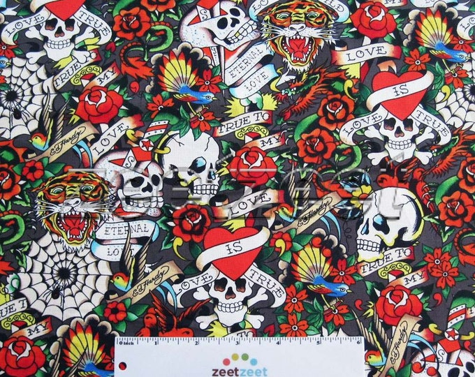 "Sale by Yard - Tiger Skull Grey Ed HARDY TATTOO Art Artist ""Love is True"" Cotton Quilt Fabric Rockabilly Goth Skulls Roses Hearts"
