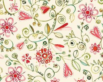 Robin Rawlings - Ariel - Watercolor Floral in Cream - Half Yard Cotton Fabric