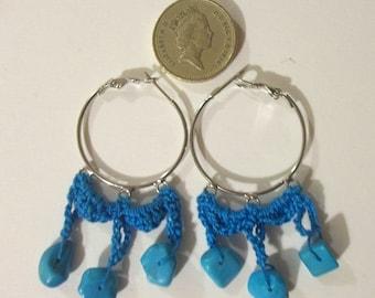 Crochet blue earrings