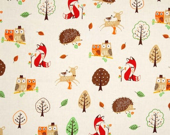 FABRIC FOREST Fellows Deer Hedgehog Fox Owls by Robert Kaufman   We combine shipping