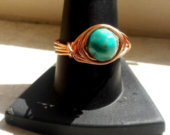 Genuine Turquoise Wire Wrap Ring Choose your size