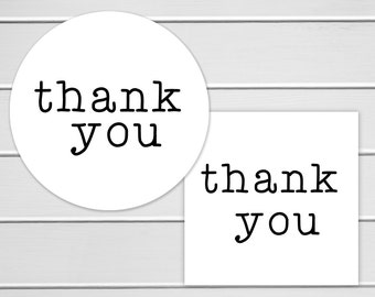 Thank You Labels, White Thank You Stickers, Printable Stickers, Typewriter (#226)