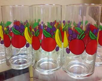 Vintage Glasses Fruit Motif Set of 8 Colorful Sun Splash Mixed Drink Glasses