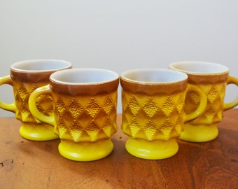 Vintage Yellow Fire King Kimberly mugs or cups, Retro Set of 4 - Anchor Hocking 1970s Mid Century Kitchen