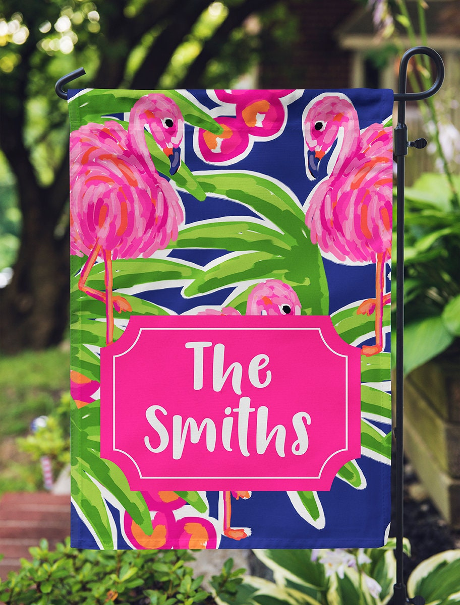 Personalized Garden Flag Flamingo and Palm Tree Spring