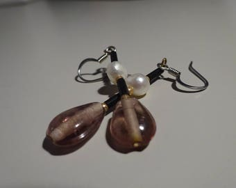 Lavender, Gold and Freshwater Pearl Earrings
