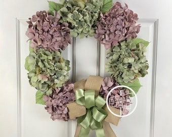 Hydrangea Wreath, Wreath, Year Round Wreath, Lavender Wreath, Spring Wreath, Wreath Street Floral,  Summer Wreath, Front Door Wreath