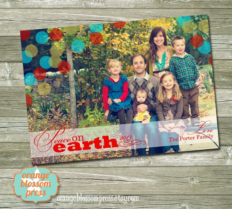 Photo christmas card peace on earth colorful dots religious zoom m4hsunfo