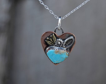 Soldered Small Copper Sterling Heart Rustic Necklace. Kingman Turquoise . Rustic  . Relics . Stamped