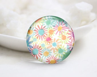 10mm 12mm 14mm 16mm 18mm 20mm 25mm 30mm Handmade Round Photo Glass Cabochons Domes-Flower (P2257)
