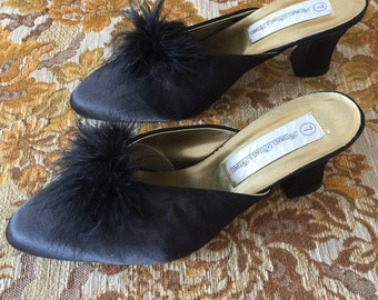 VINTAGE BOUDOIR MULES, black satin slippers, marabou pom pom, midcentury pinup, Sz 6-7