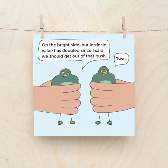 Bird in Hand, Funny Greetings card, Funny Love card, Funny Bird card, Funny worm card,