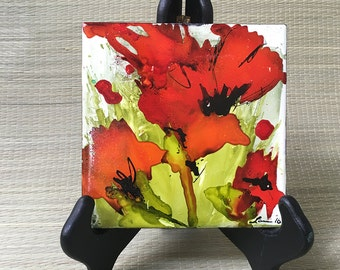 RedPoppies - Ceramic Tile Alcohol Inks