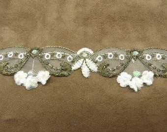 Ribbon embroidery - 4 cm - bronze & white