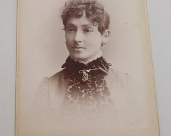 Antique Cabinet Card Woman with Collar Pin and Ear Bobs  CC737