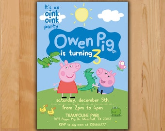 Peppa Pig Invitation - Peppa Pig Birthday Invitation - Peppa Pig George Pig Party Invite - Boy Girl Birthday Printable invite