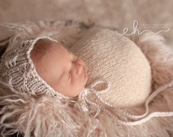 Knit Baby Bonnet, neutral photography prop, Baby Hat, Newborn Knit Hat, neutral baby hat, newborn photo shoot prop, gift, accessory