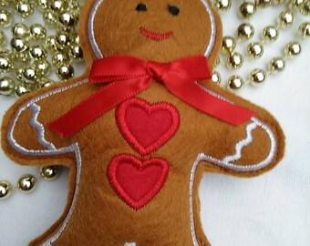 Vintage Christmas Felt Gingerbread Man Tree Decoration BoutiqueByDanielle Interior Design