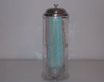 Glass jar with embossed deco Summer, lid and straws