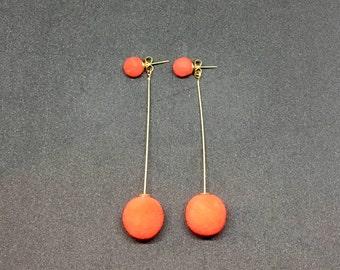 Red / gold dangle pom pom earrings