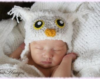 Crochet Fuzzy White Owl Hat (Newborn)