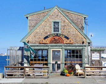 Sunny day, Lucky Finn Cafe, Scituate, MA, South Shore, Boston, lighthouse, cottage decor, nautical, New England, archival print, signed