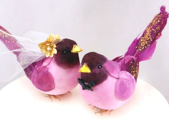 Fancy Finch Wedding Cake Topper in Deep Purple: Bride & Groom Love Bird Cake Topper