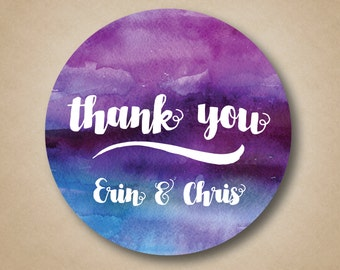 Thank You Stickers Wedding Favor Labels Custom Favor Tags Water Color Stickers Watercolor Wedding Ideas Personalized Favor Box Stickers