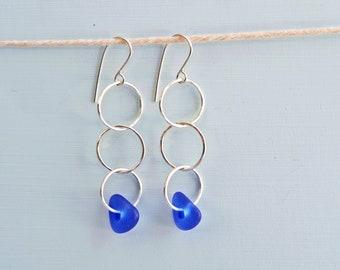 Blue Beach Glass Earrings Sterling Silver Sea glass earrings Sunshine