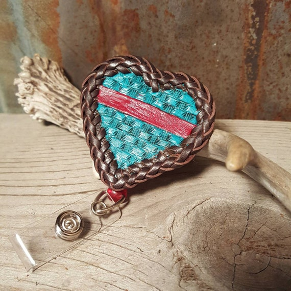 Heart Shaped Thin Line Leather ID Badge Holder