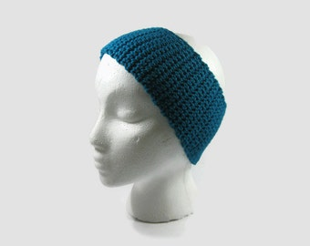 Dark Turquoise Crochet Cotton Ear Warmer One Size Fits Most