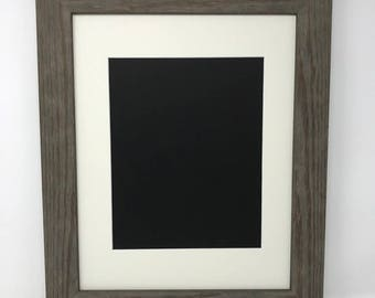 """11x14 1.75"""" Rustic Grey Solid Wood Picture Frame with Cream Mat Cut for 8x12 Picture"""