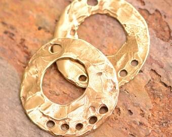 Artisan Bronze Earring Hoops, Two Bohemian Style Findings, FN-715, B/2
