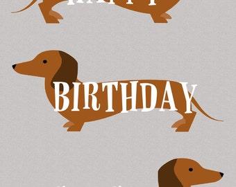 Happy Birthday Sausage Dachshund Greetings Card
