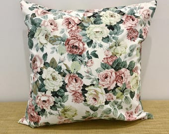 "Vintage 1980s Fabric Pink and Green Floral Cushion Cover Decorative Throw Pillow. 18"" (45cm). Cushion covers Australia"