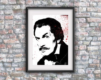 Vincent Price, digital art, mystery, goth art, printable art, horror deco art, wall decor, digital download, downloadable, poster, movie
