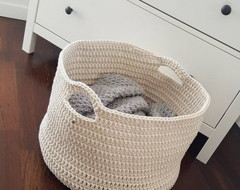 Storage Rope Basket Large Crochet Knitted Kids room Toys Nursery. Modern Cotton Bedroom decor. Loundry storage. Home organization