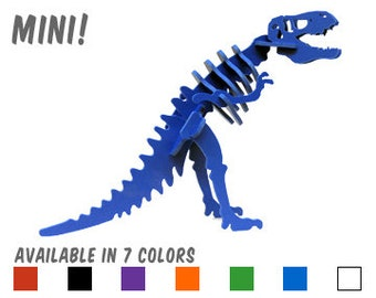 Dinosaur Puzzle, Dinosaur Toy, MINIATURE 3D Dinosaur Skeleton Puzzle, Recyclable PVC Tyrannosaurus Rex, Choice of 7 Colors!