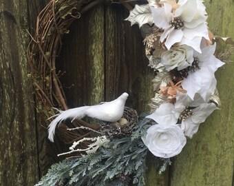 Christmas wreath, Christmas door decor, Winter wreath, Winter door decor, Dove wreath, white and gold wreath, Christmas decor, bird wreath