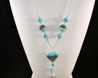 "Sterling Silver Necklace- ""Turquoise Mosaic"" -The Heart Collection - Artisan Lampwork Glass, Swarovski Crystal, Unique, One of a Kind, SRAJD"