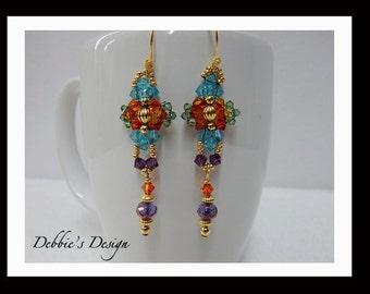 Women's Hand Beaded Dangle Earrings-447 Women's Dangle Earrings, Beaded Jewelry, Beaded, Dangle, Women's Jewelry, Womens Beaded Earrings