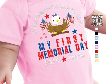 My First Memorial Day - Cutest Little Birdie Born in the USA - Bodysuit - Girls - Personalized with Name and Year